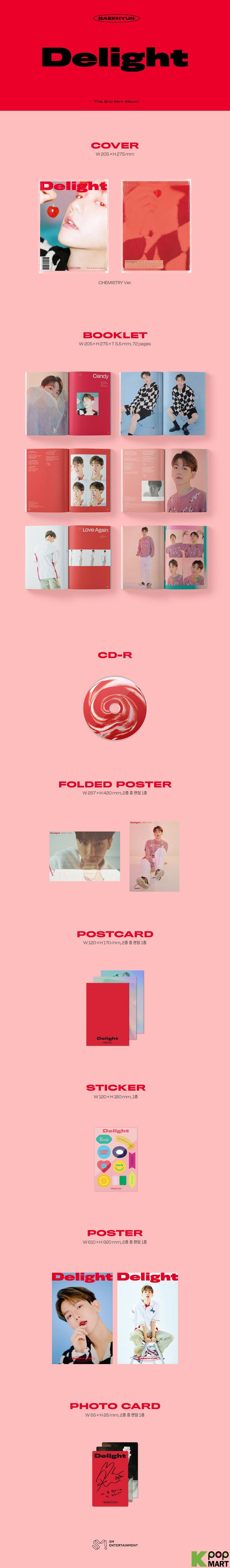 2nd Mini Album Photocard Set CD+Booklet+Folded Poster+Others with Extra Decorative Sticker Set Pre Order Chemistry Ver. Delight Baekhyun